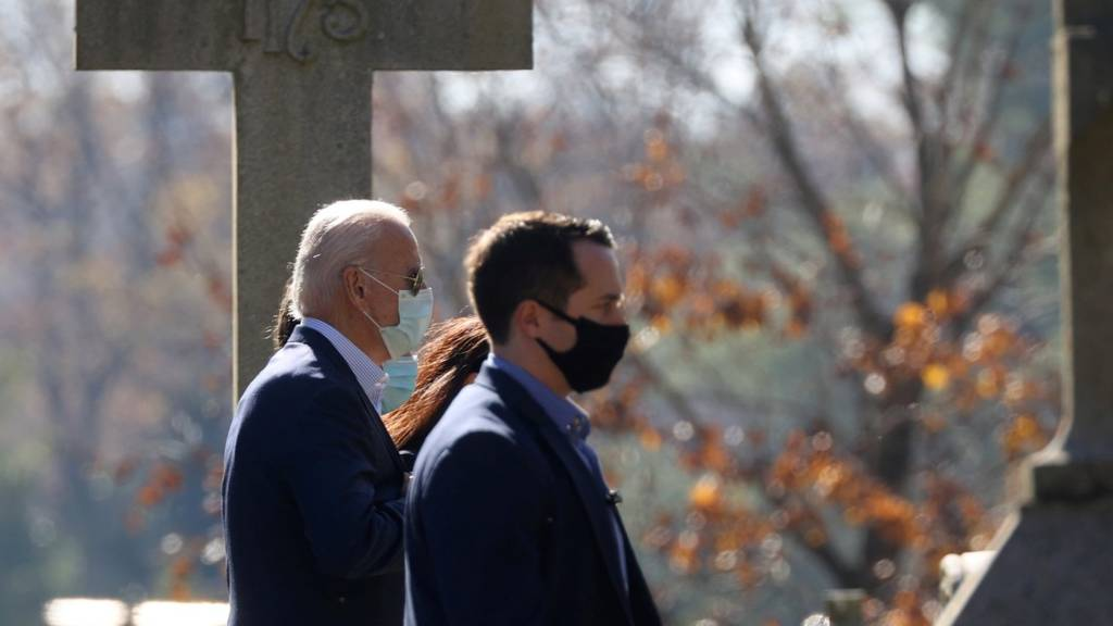 Joe Biden and family attend church a day after being declared as winner in the US presidential election