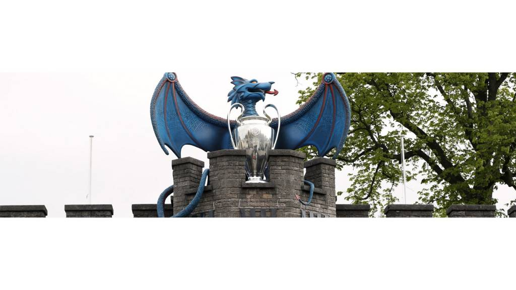 Champions League final branding on Cardiff Castle