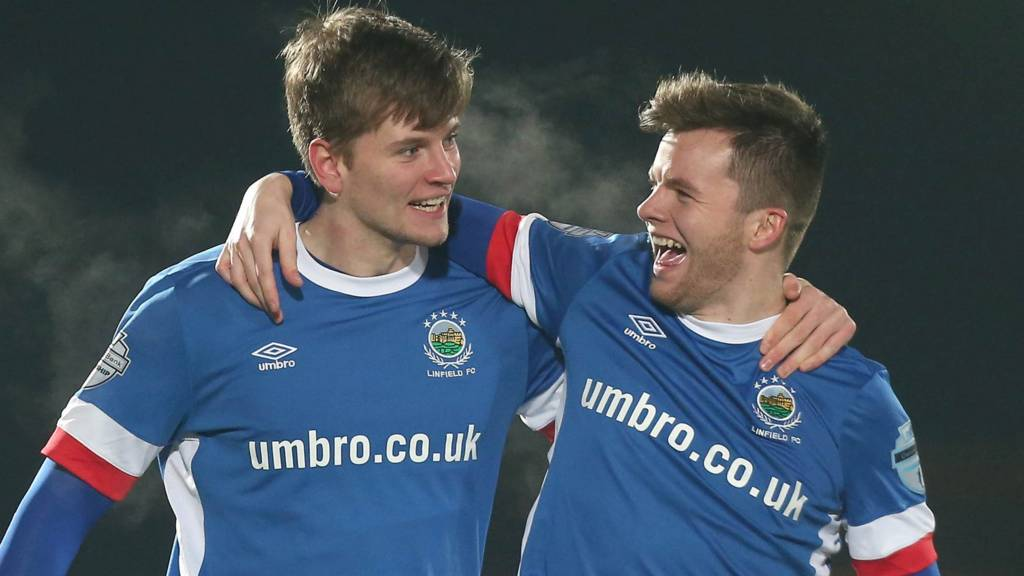 Linfield take the lead in the County Antrim Shield final