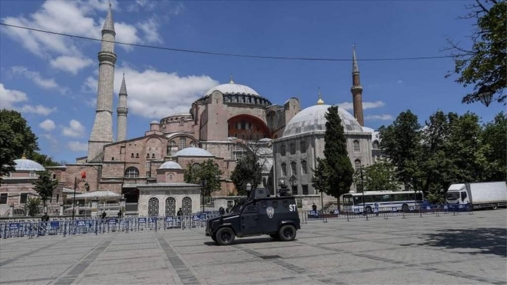 Police patrol outside the Hagia Sophia in Istanbul, 11 July 2020