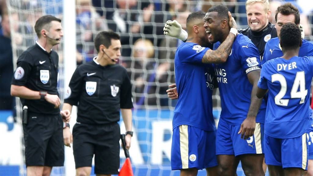 Leicester celebrate at full-time