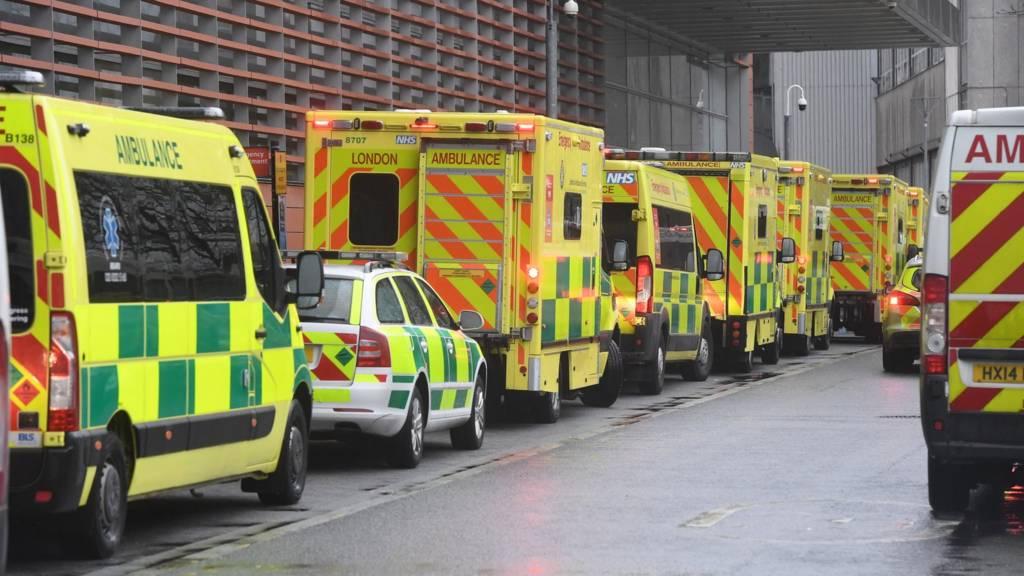 Ambulances outside a London hospital