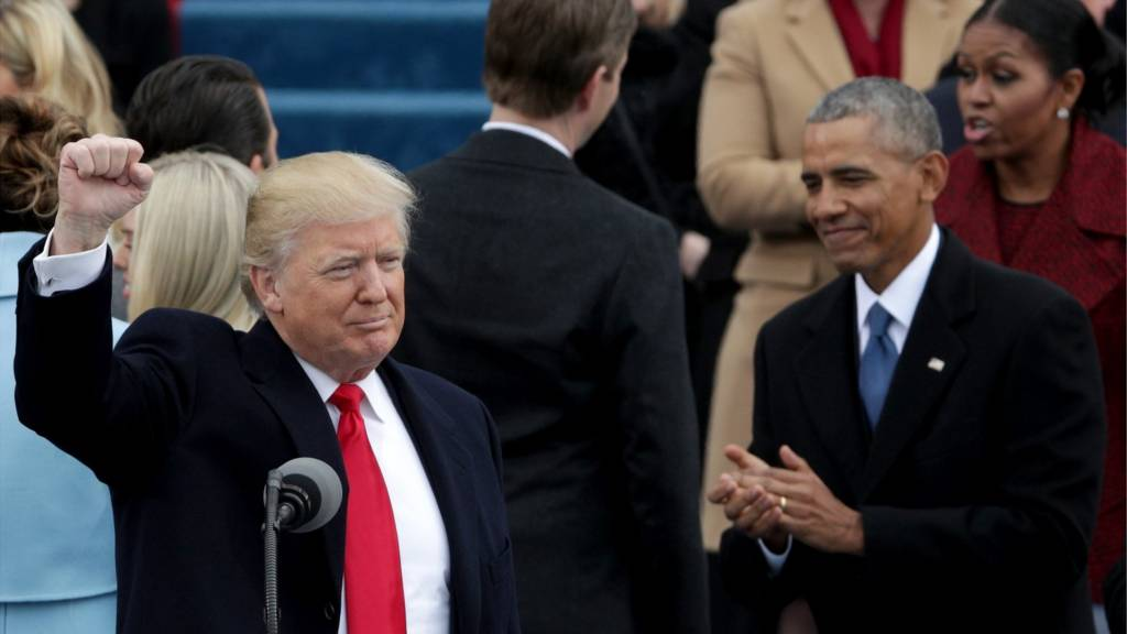 Trump and Obama at inauguration