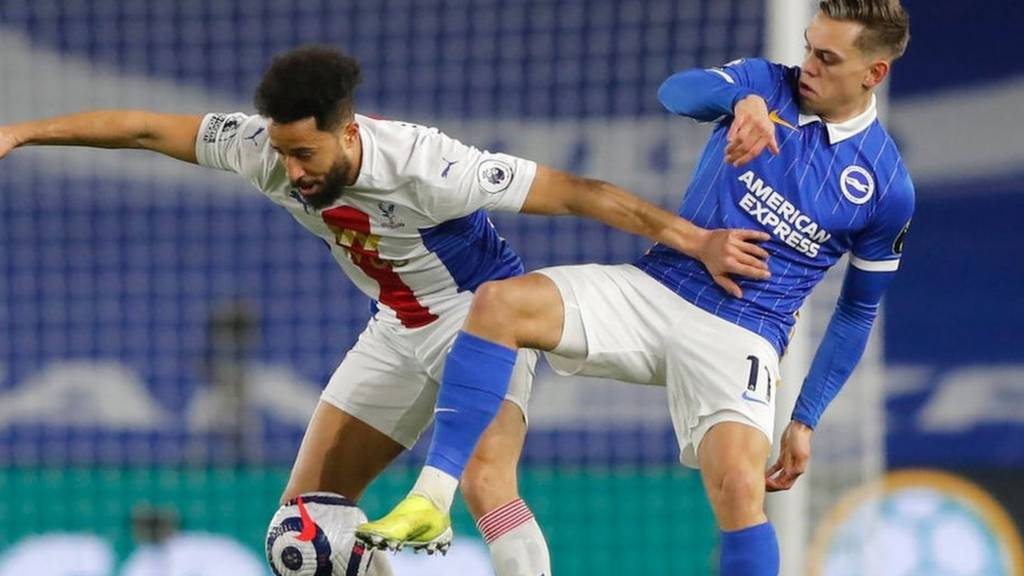 Crystal Palace's Andros Townsend and Brighton's Leandro Trossard