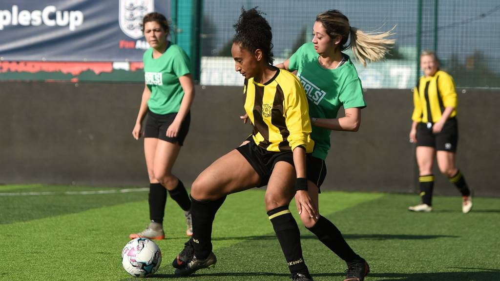 Women playing five-a-side football in the FA People's Cup