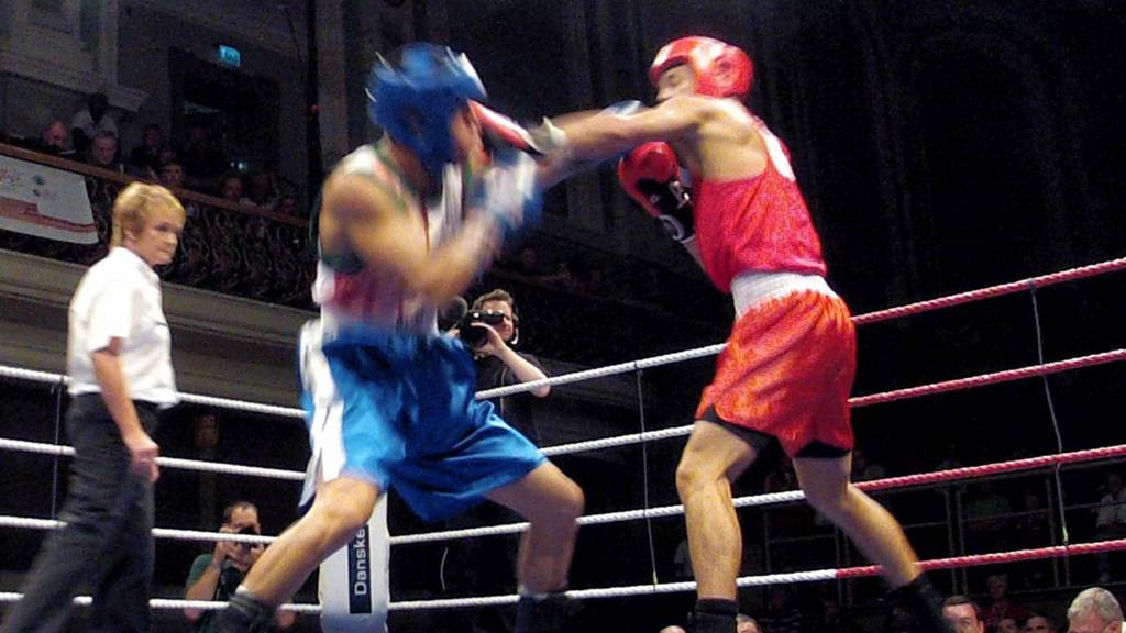 Boxing action from the Ulster Hall