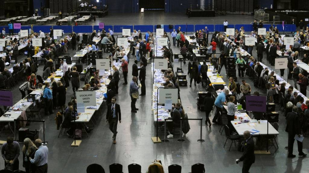 Election count staff count ballot papers at Birmingham's Barclaycard Arena