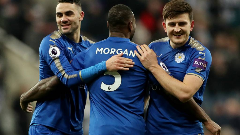 "Leicester City""s Vicente Iborra, Wes Morgan and Harry Maguire celebrate after the match"
