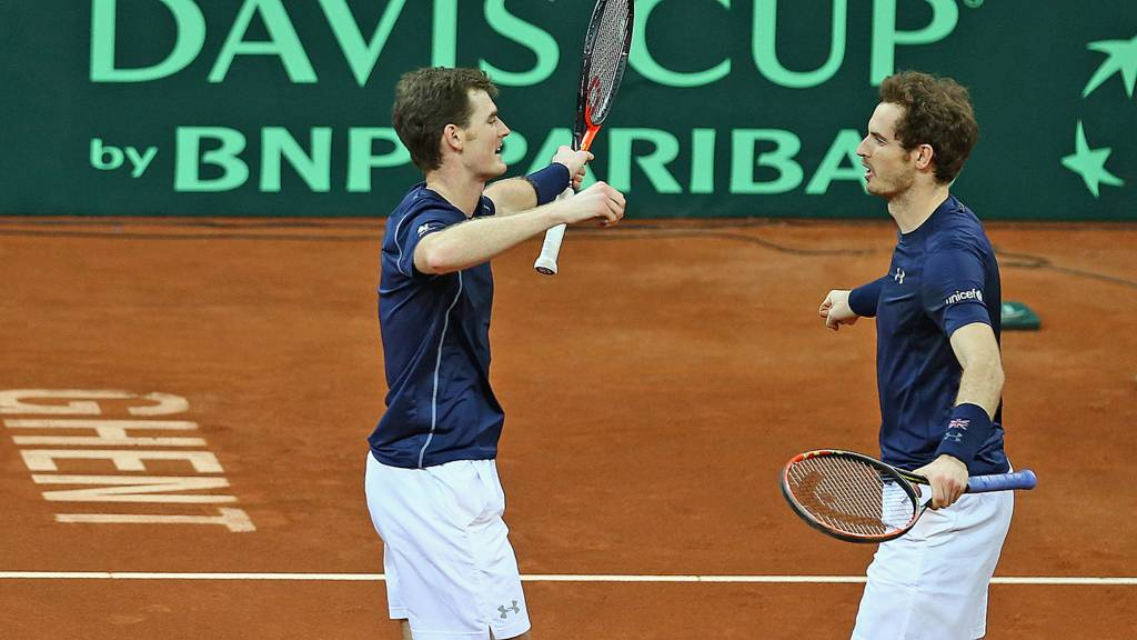 Andy Murray and Jamie Murray of Great Britain