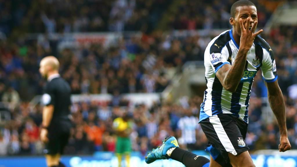 Newcastle striker Georginio Wijnaldum celebrates his fourth goal