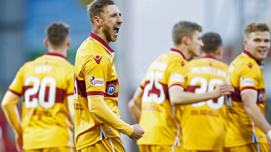 Motherwell striker Louis Moult celebrates his early goal
