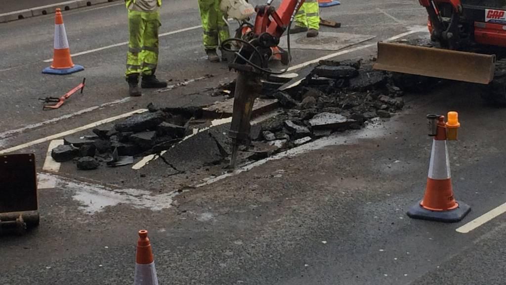 Road repairs in Dunstable