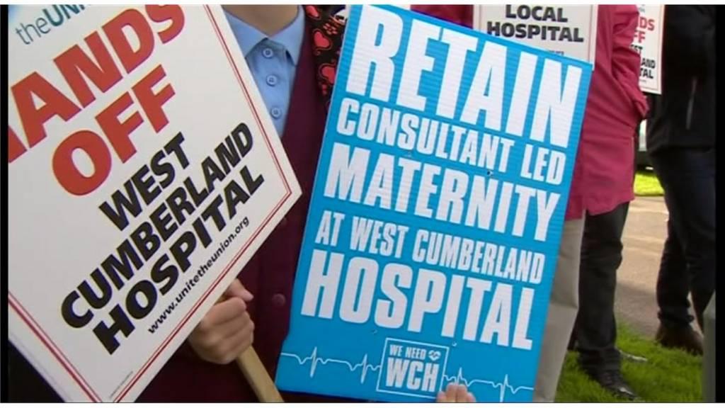 hospital protest banner