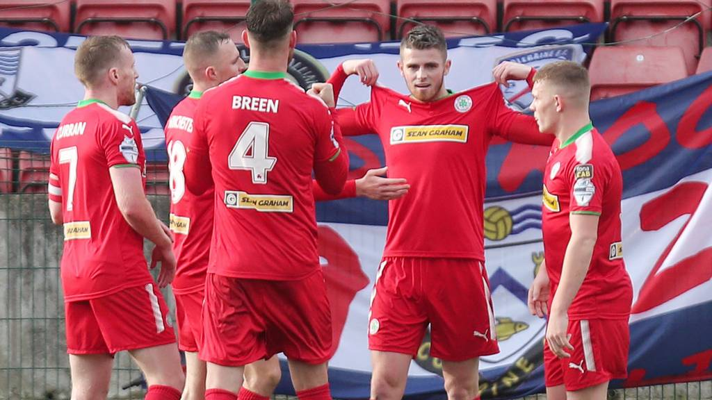 Action from Cliftonville against Coleraine
