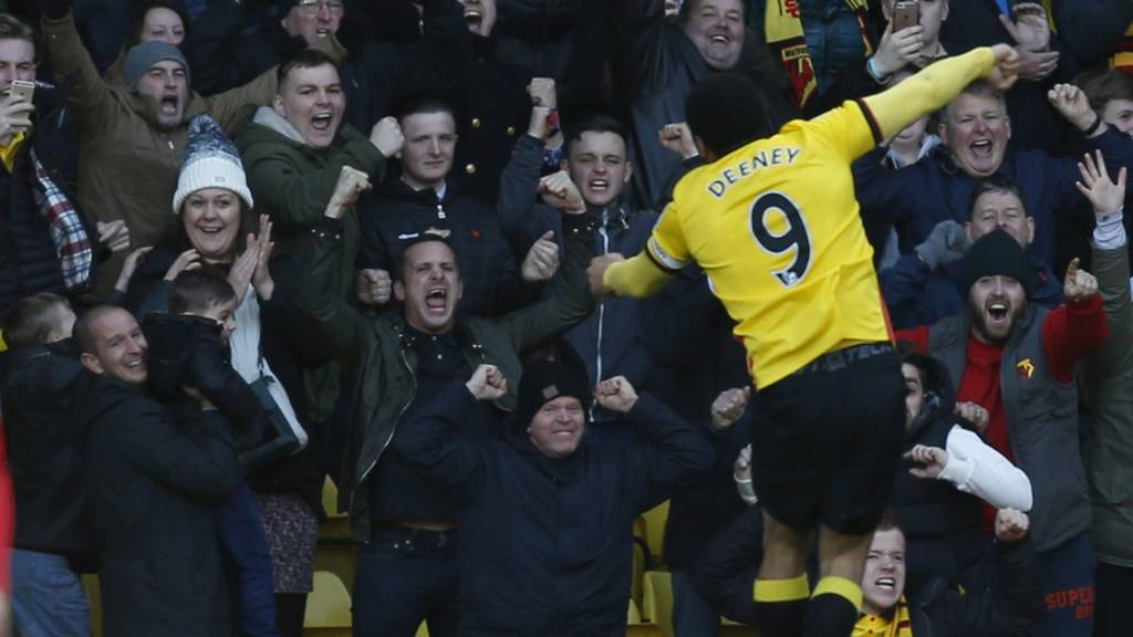 Troy Deeney celebrates after scoring for Watford