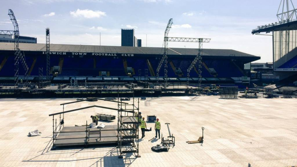 Stage construction at Portman Road