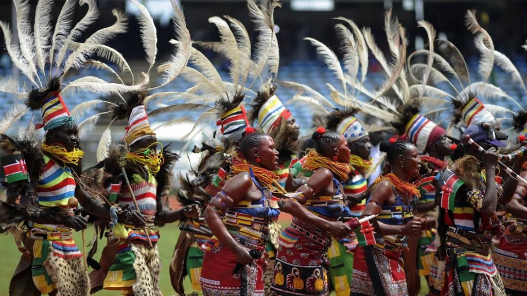 Traditional dancers perform at the Kasarani stadium in Nairob