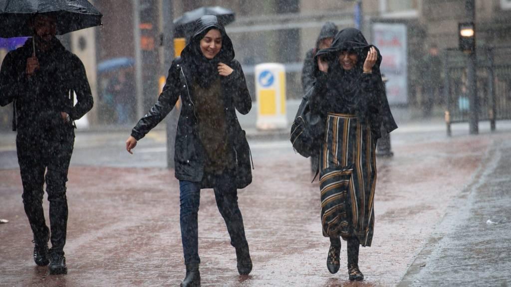 Women walking in rain