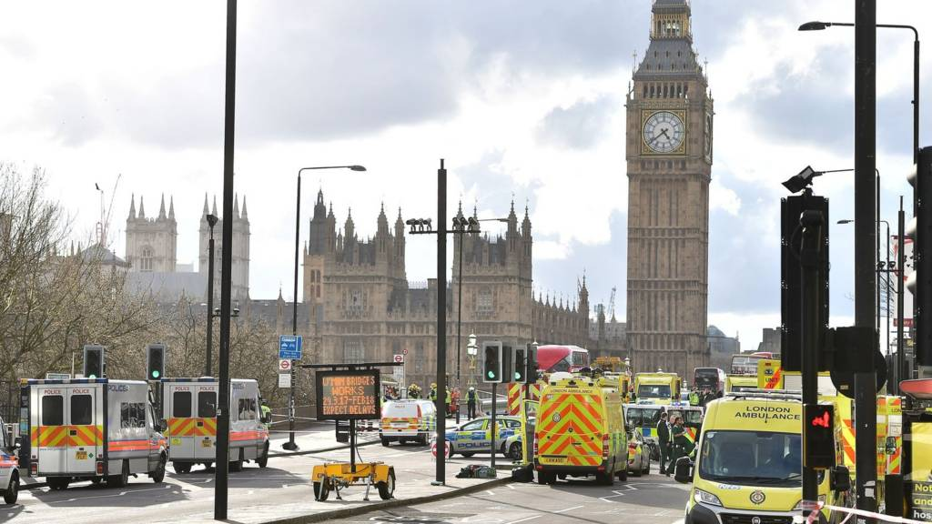 Palace of Westminster surrounded by emergency services