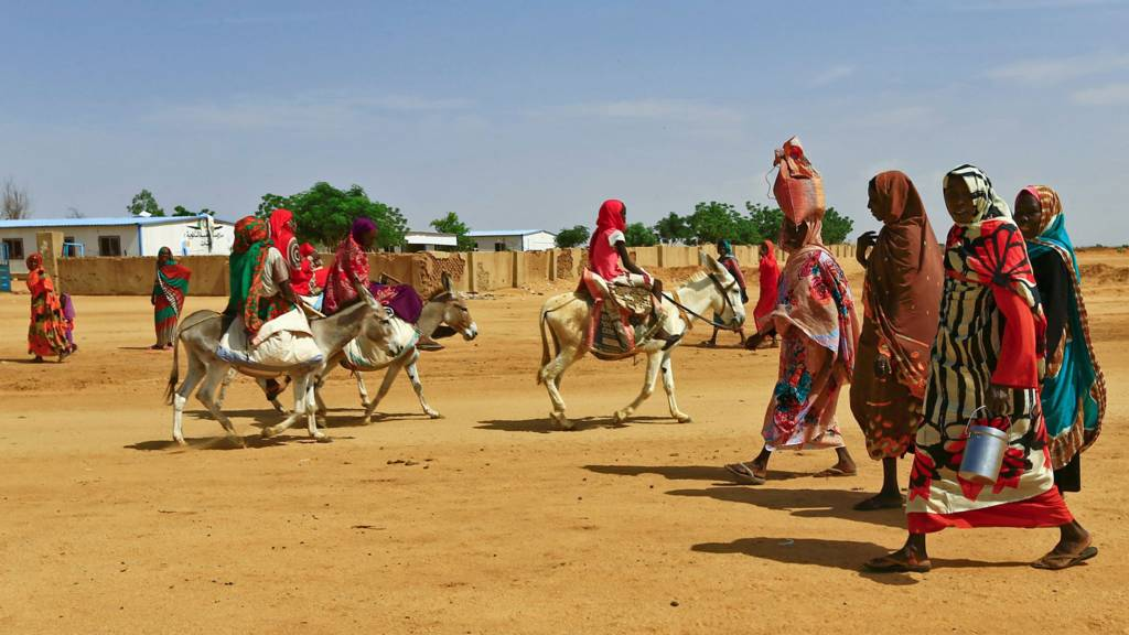 Women walking to the market in Abu Shock camp in Darfur, Sudan - September 2016