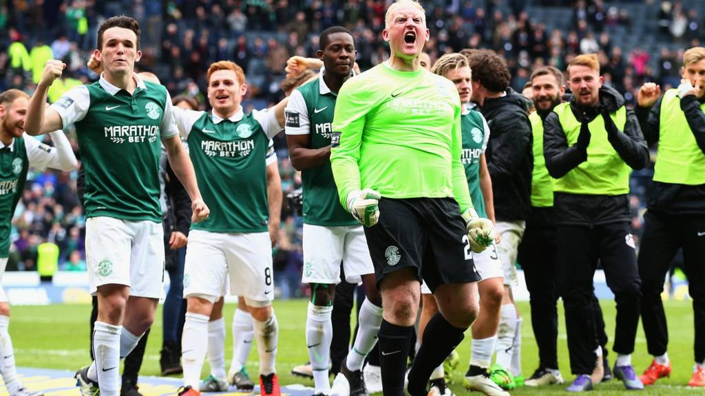 Hibernian celebrate their penalty shoot-out victory
