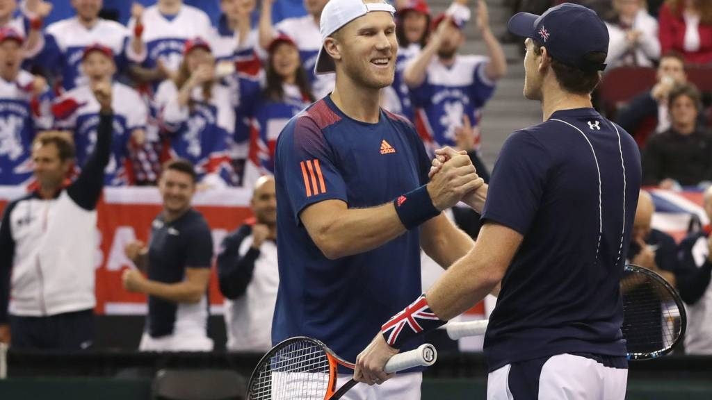 Jamie Murray and Dominic Inglot of Great Britain congratulate each other