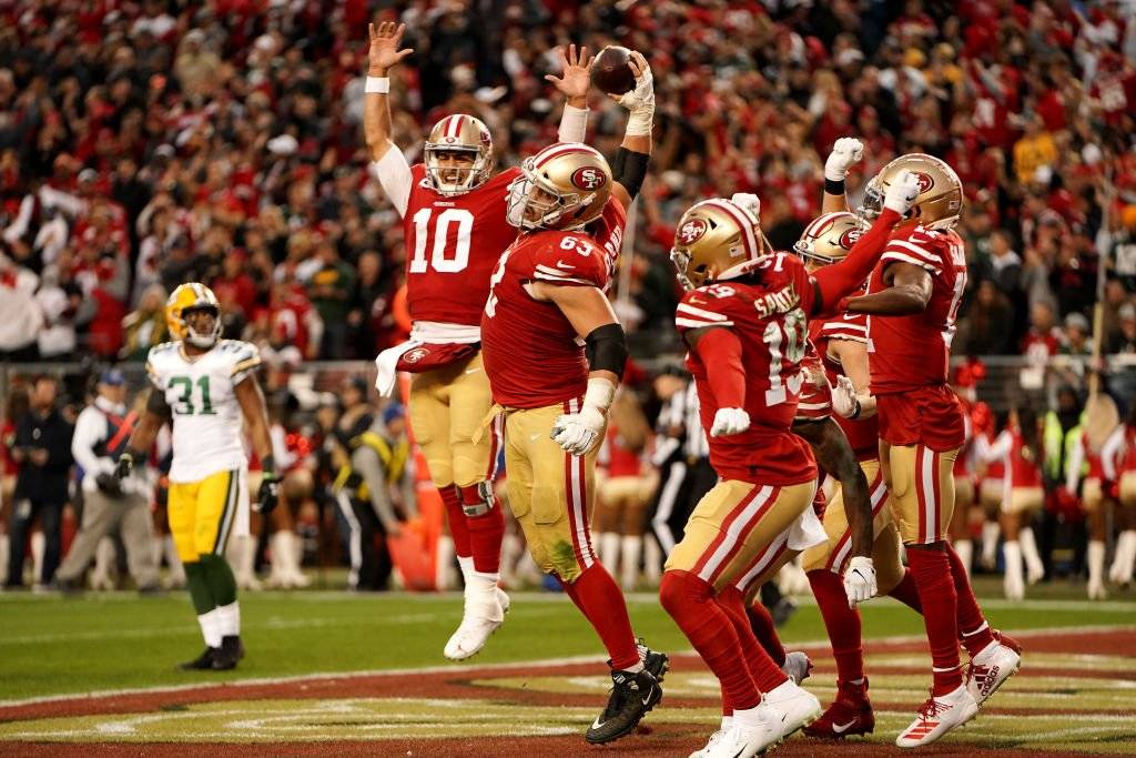 The San Francisco 49ers celebrate when making the Super Bowl
