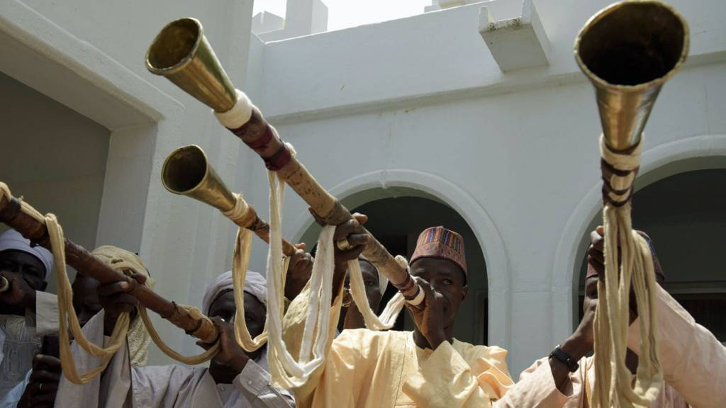 Traditional musicians at Sokoto palace, Nigeria