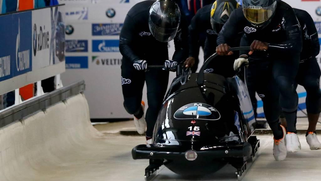 Lamin Deen and his GB bobsleigh team