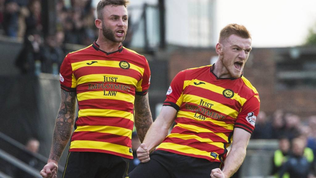 Partick Thistle celebrate Shea Gordon's goal