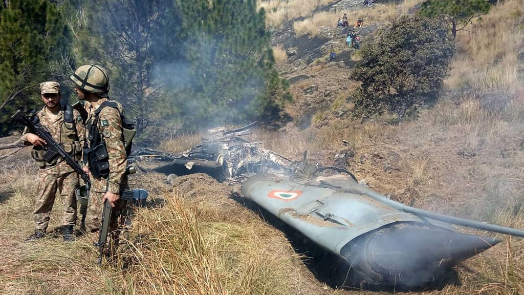 Picture that Pakistan says shows a downed Indian plane