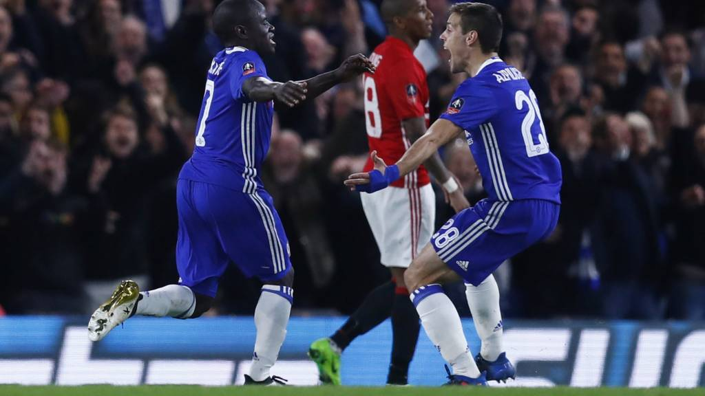 "Chelsea""s N""Golo Kante celebrates scoring their first goal with Cesar Azpilicueta"