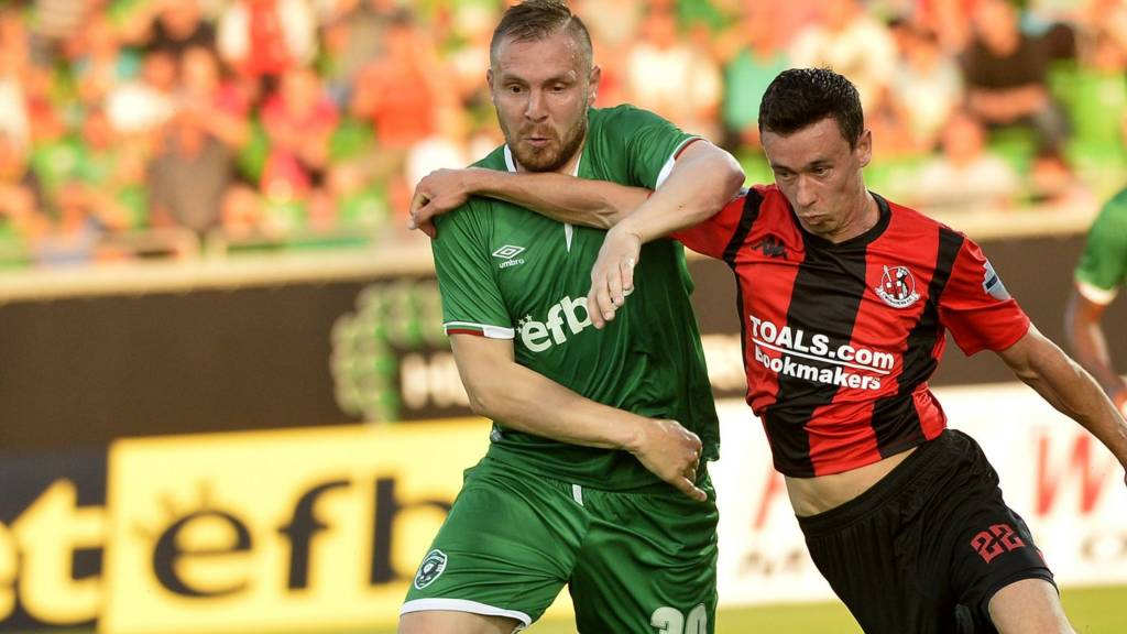 Action from Ludogorets against Crusaders