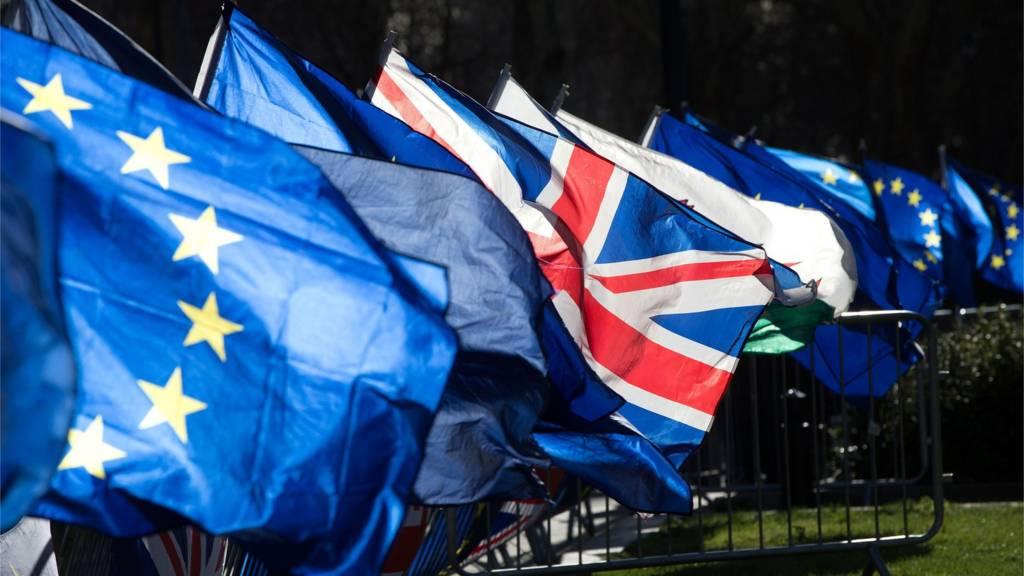 Union and European Union flags