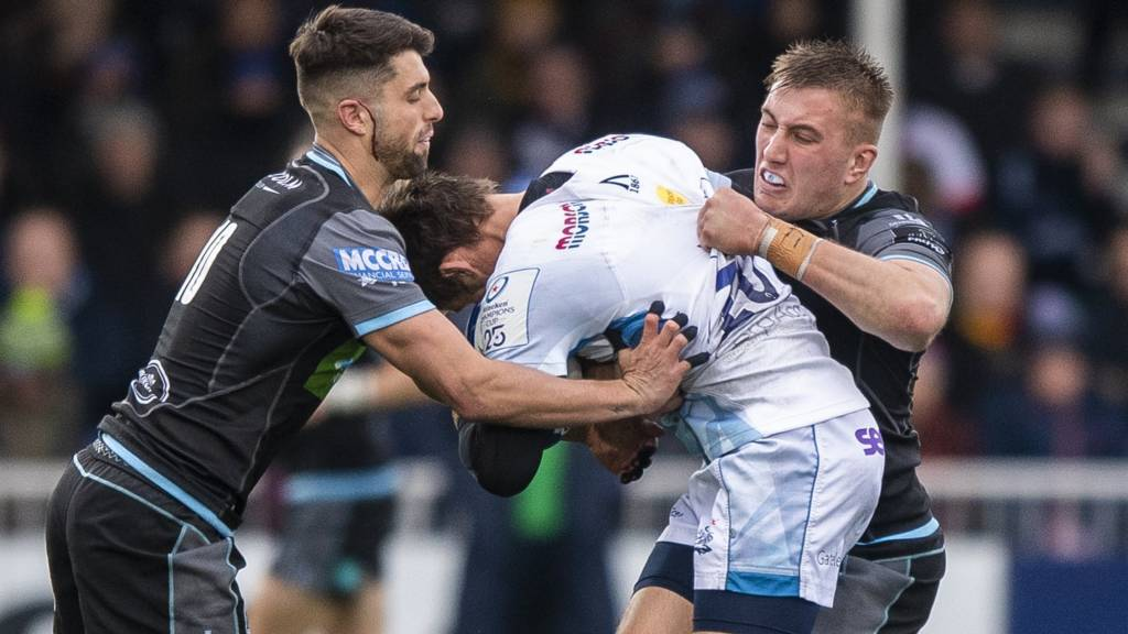 Glasgow Warriors' Adam Hastings and Matt Fagerson tackle Sale's AJ MacGinty