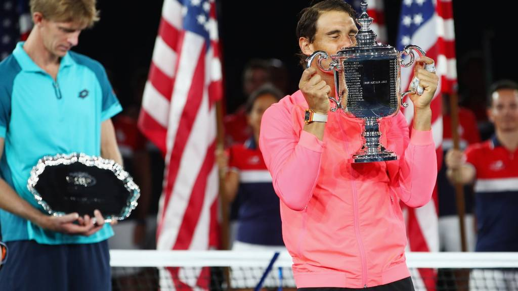 Rafael Nadal of Spain with the US Open trophy