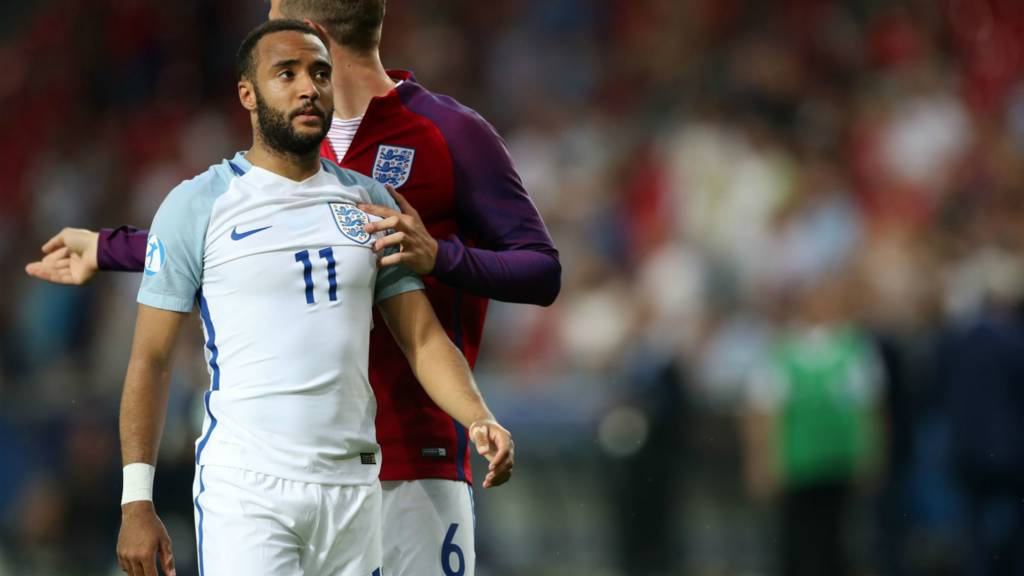 England's Nathan Redmond misses the crucial penalty
