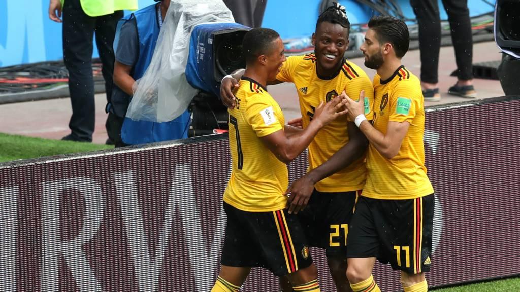 Belgium celebrate fifth goal
