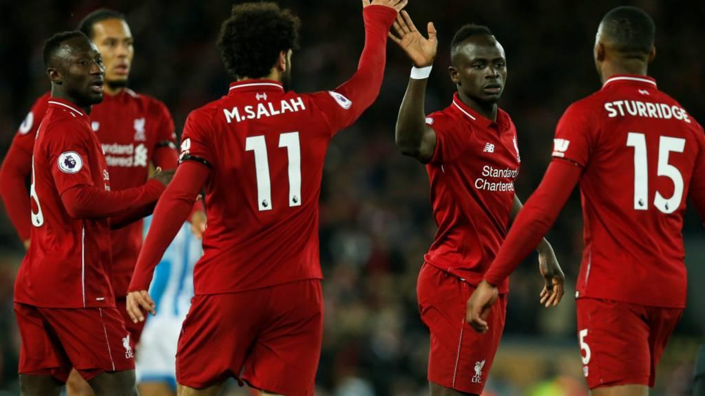 Liverpool celebrate 4th goal
