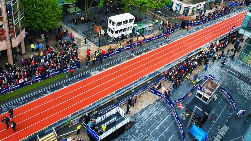 Athletics track through Deansgate