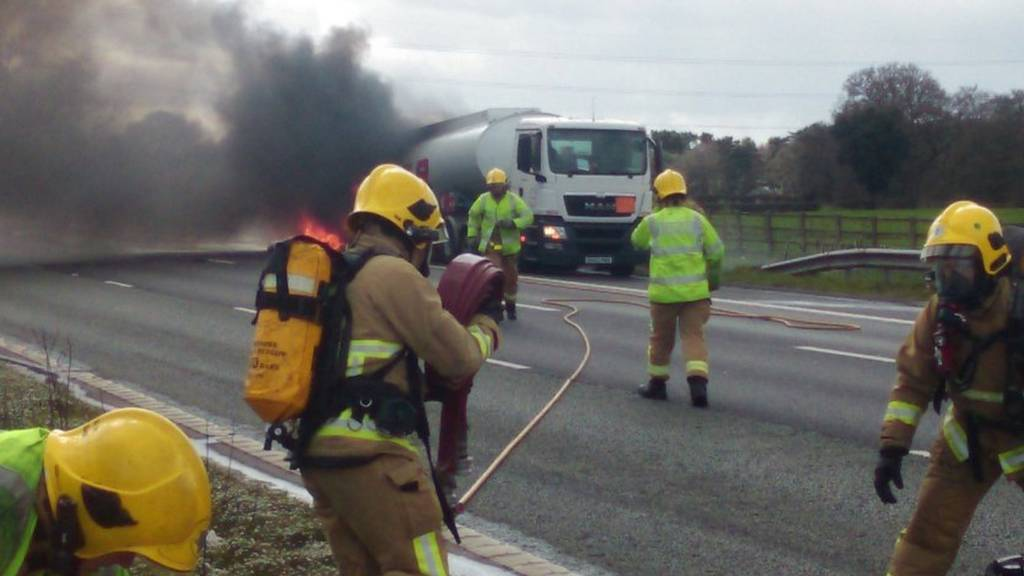 Tanker on fire on M6