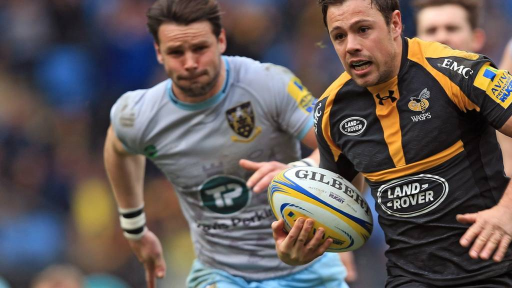 Wasps' Rob Miller races away for his second try