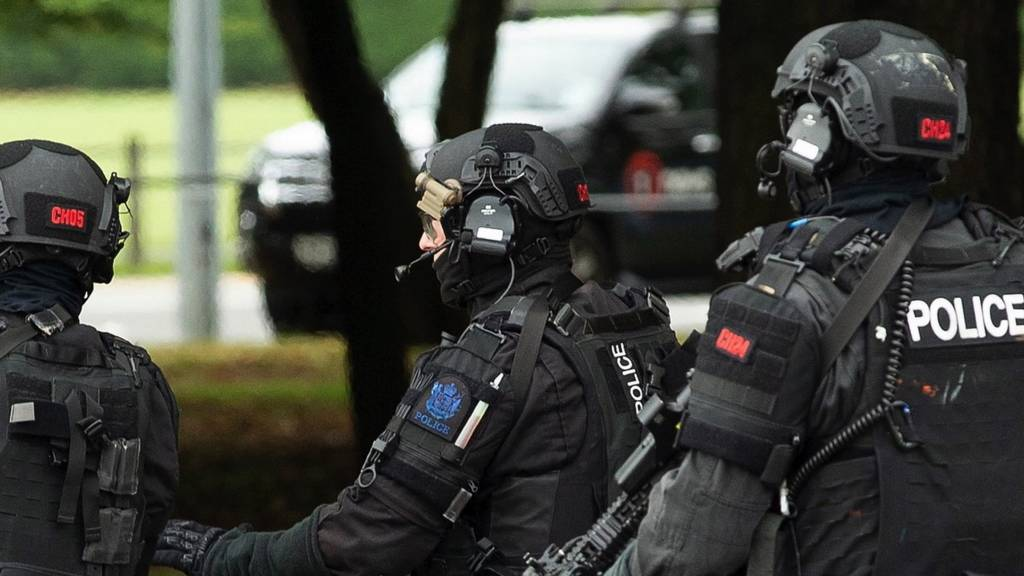 Armed police following a shooting at the Al Noor mosque in Christchurch, New Zealand