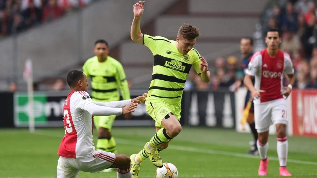 James Forrest in action for Celtic against Ajax
