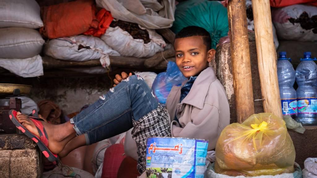 Ethiopian boy in a market