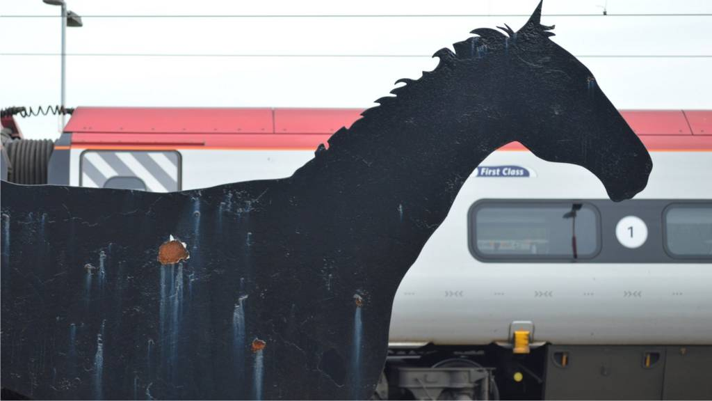 Steel horse at Wolverhampton railway station