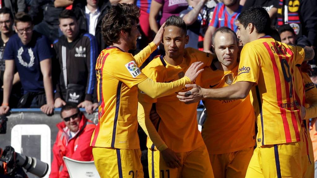 Barcelona's players celebrate