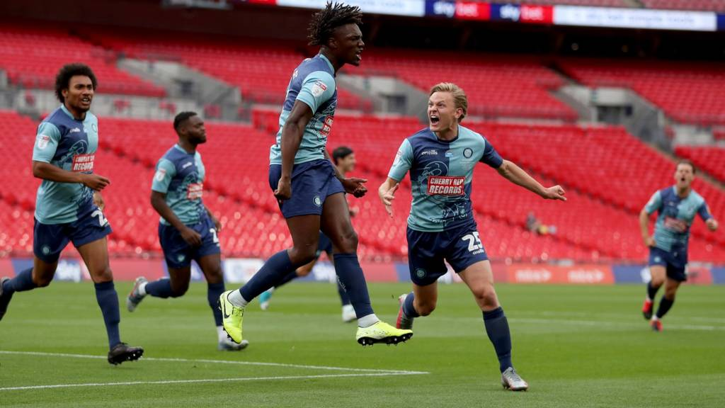 Wycombe celebrate a goal at Wembley