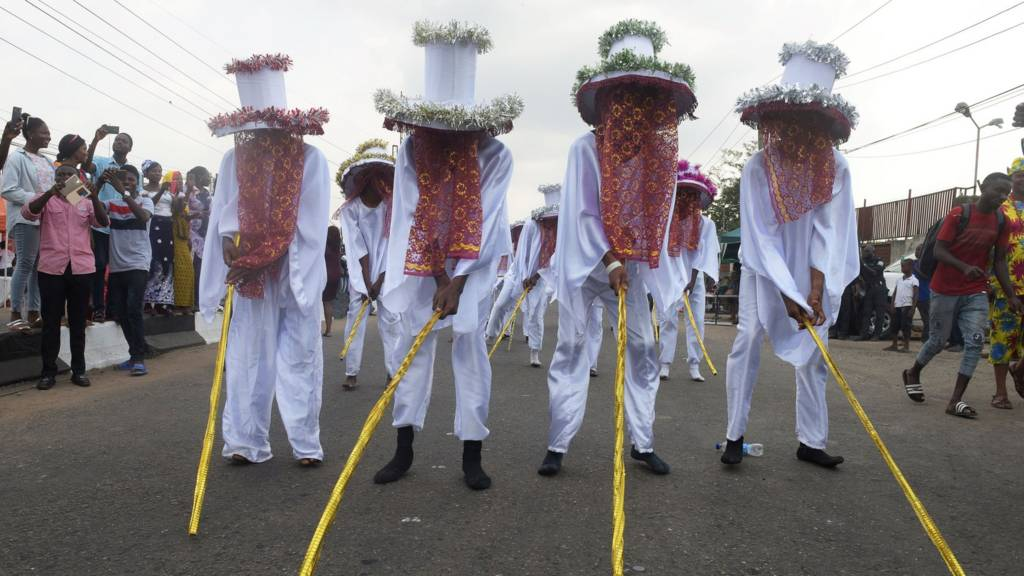 Cultural troupe dances during the Lagos Street Carnival