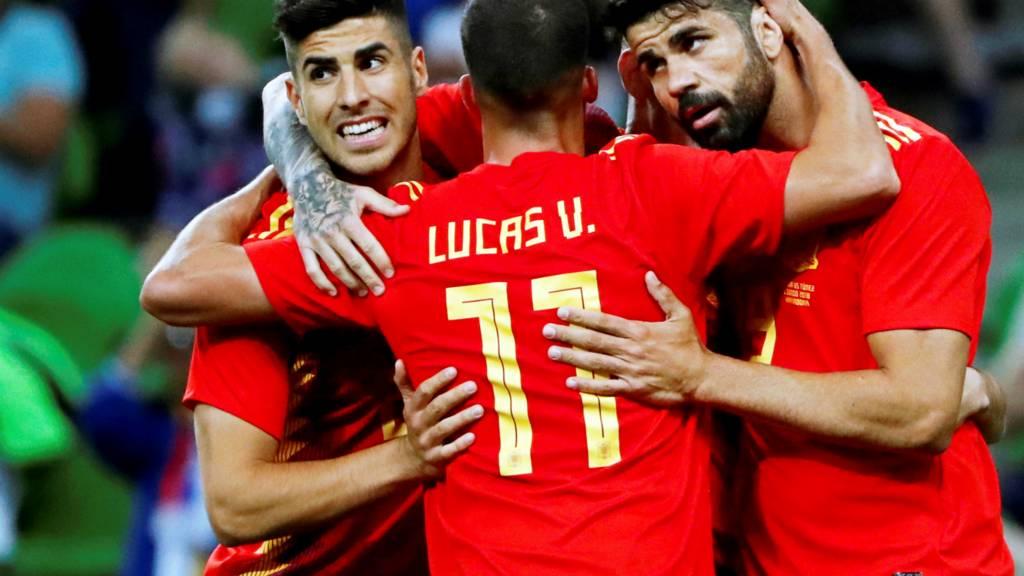 Spain celebrate winning goal